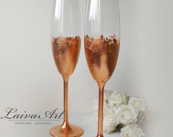 Wedding Champagne Flutes Champagne Glasses Rose Gold Wedding Toasting Flutes Set of 2