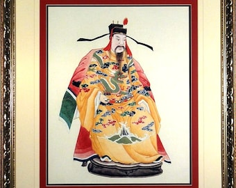 """Rare Famous China """"Yellow Emperor"""" Lithograph Poster w/Frame"""