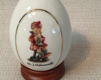 M.J. Hummel Porcelain Egg Mother's Helper With Wooden Stand
