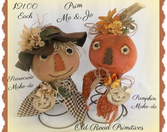 Scarecrow Pattern Pumpkin Pattern Mo and Jo Prim Scarecrow and Pumpkin Make Do PDF Pattern Patterns Patterned