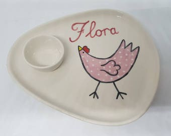 Hand Painted Ceramic Egg and Toast Plate Can be personalised Chicken Design