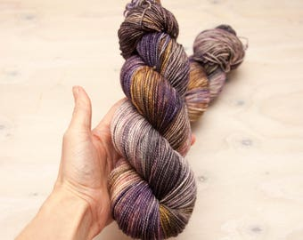 Hand dyed yarn, sock yarn, Superwash wool, nylon sock yarn, hand dyed sock yarn, variegated yarn, purple yarn, grey yarn, yellow, tan yarn