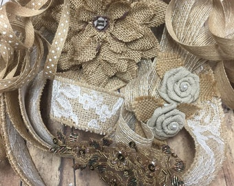 Burlap journal and collage pack