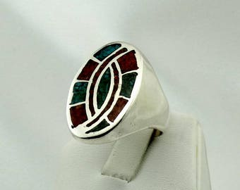 Vintage Turquoise and Coral Inlay Swirl Design Sterling Silver Native American Handmade Ring FREE SHIPPING! Size 10 3/4 #INLAY11-MS
