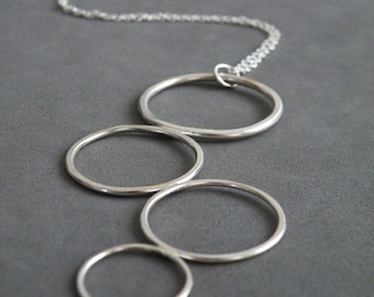 Bubble Necklace Statement Necklace Sterling Silver Necklace Circles Geometric Modern Minimalist Jewelry by SteamyLab