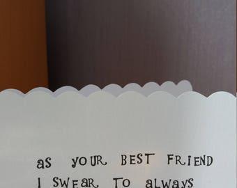 Best Friend Card, Friend Card, Cheeky Card, Birthday Card, Greeting Card, Stamped Card, Blank Card