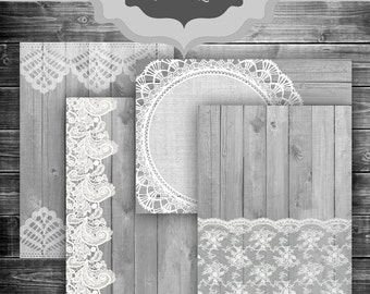 Rustic Wood & LACE Digital Paper Pack - Vintage wood and lace pattern wedding invitation bridal shower backgrounds - 5 x 7 Invitation Papers