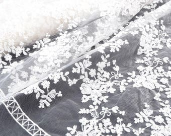 Embroidered white cotton embroidery tulle lace fabric ecru x50cm