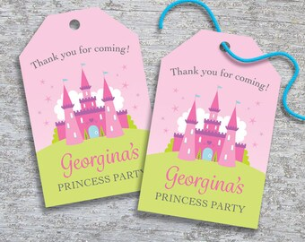 Personalized Princess Party Favor Tags – DIY Printable – Fairytale Castle – Hang Tags (Digital File)