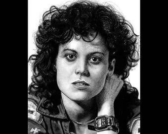 "Print 11x14"" - Ripley - Alien Sigourney Weaver Sci Fi Horror Dark Art HR Giger Aliens Ridley Scott Space Pop Lowbrow Art Monster Creature"