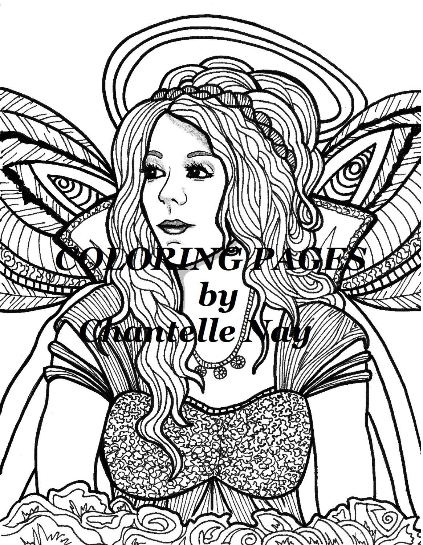 kleurplaat pagina engel vrouw gezicht volwassene kleuren