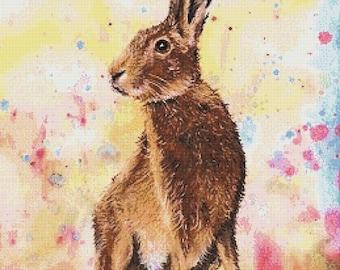 Hare  - cross stitch chart / pattern   - high quality cross stitch chart / pattern, original art by Caroline Lord O'Donovan