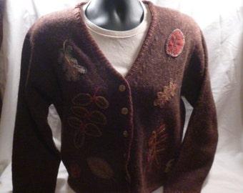 Vintage LL Bean Sweater Cardigan Medium  Brown Leaves Shetland Wool Women's