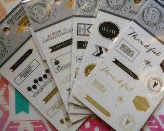 Planner Stickers, Scrapbook Phrase, Quote, Words, Thankful, Clear, Black, Gold, Inspirational, Uplifting, Memory, Planning, Monochrome White