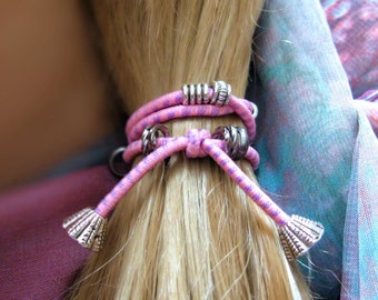 HAIR ELASTIC-Beaded Pink Ponytail Holder, Hair Tie, Hair Tie Bracelet, Ponytail Elastic, Yoga Hair Ties, Boho Hair, Bad Hair Days, Pink