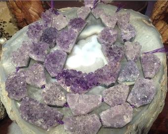 50% Mega Sale Amethyst Drusy Gemstone Beads - Large Pieces