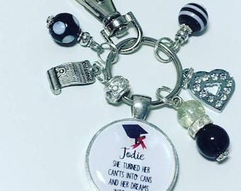 Graduation keyring, personalised graduation gift, personalised graduation keychain