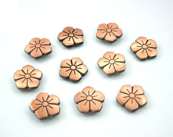 Vintage Sakura Flower Rapid Rivet Studs Buttons Antique Copper Tone 16 mm. 10 pcs.