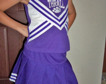 Cheerleader Uniform Fun Halloween Costume Kids Child Purple 28/25