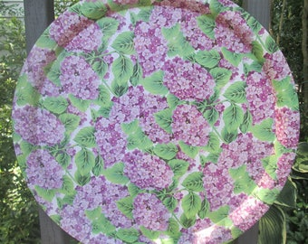Large Vintage Tin Tray - Round Tin Serving Tray - Lavender and Green Floral Tray - Garden Party