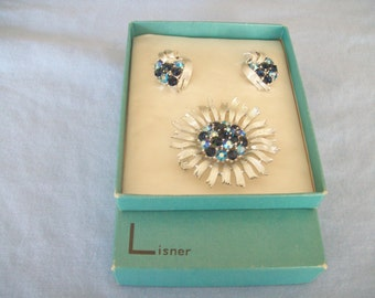 Lisner Blue AB Rhinestone Brooch & Clip-on Earrings