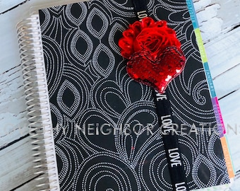 Red Sequin Heart Planner Band