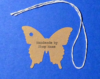 """Small Kraft Butterfly Tags 1.75""""x 1.5"""" with twine ties . personalized product, pricing or gift tags . craft supplies . mini handmade by tags"""