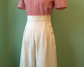 1930's 1940's vintage style off white  cotton twill pants    custom made