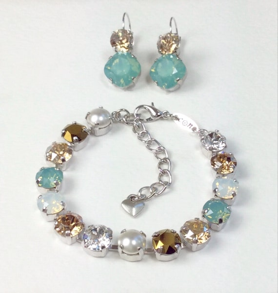 """Swarovski Crystal 8.5mm Bracelet & Earrings - """" Pacific Dream """"  Pacific Opal, White Opal, and Golden Hues - Bridesmaid Gift - FREE SHIPPING"""