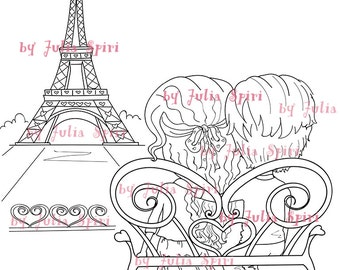 Digital Stamps, Digi Stamp, Coloring, Parer crafting, Paris stamps, Boy and Girl in love. Tha Paris Collection. Love in Paris