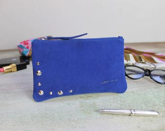 Studded leather clutch, Sale leather clutches, cobalt blue leather pochette, Gift for her, READY to Shipping