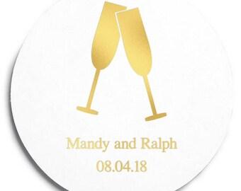 Set of 100 Round Wedding Coasters - Champagne Flutes - Custom Coasters - Weddings - Wedding - Wedding Reception - Wedding Coasters