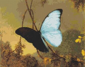 Butterfly Cross Stitch Kit, Blue Morpho Butterfly, Embroidery Kit, Art Cross Stitch, Counted Cross Stitch, Martin Johnson Heade
