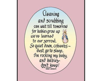 Cleaning and Scrubbing- Mom with newborn gift, matted, ready for framing; FREE US SHIPPING!