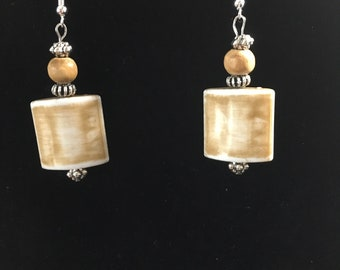 Tan Acrylic and Wood Earrings