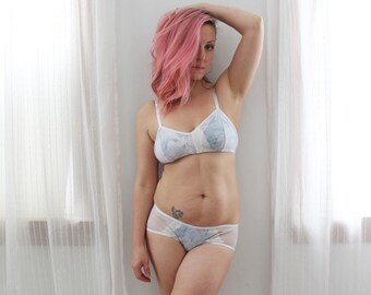 Blue and White 'Marble' Bra and Hipster Panties Set Handmade to Order