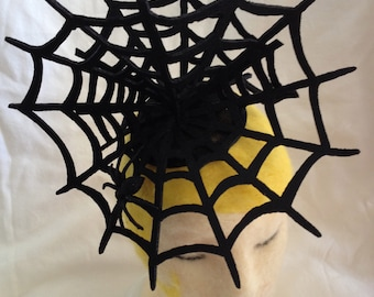 Black Felt Spiderweb Fascinator Hat - Perfect for Halloween Costume - Black Glitter Spider