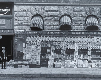 Print of Photorealism Painting - Newspaper Stand