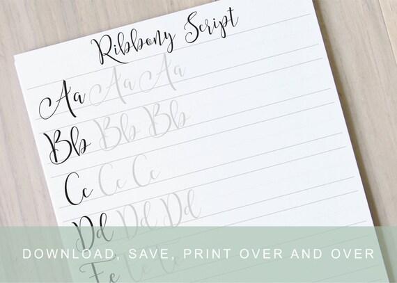 Ribbony lettering worksheet learn brush lettering learn modern