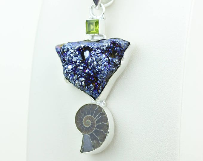 Peridot Titanium Druzy Ammonite Fossil 925 S0LID Sterling Silver Pendant + 4MM Snake Chain & Worldwide Shipping p4078