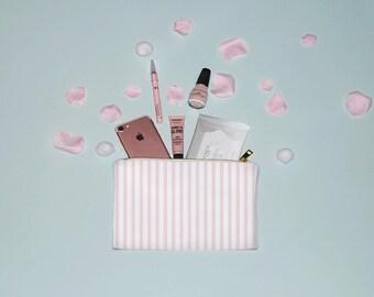Pink Stripe Pattern Make Up Bag, Cosmetic Bag,  Striped Make Up Bag, Cosmetic Bag, Cute Make up Bag, MUA, MUA Gift, Striped Make up Bag