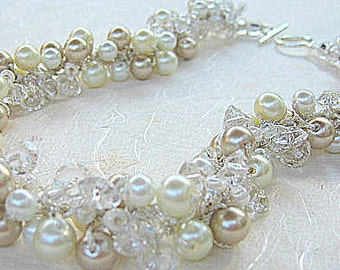 Bridal Crystal Wedding  Necklace, CHAMPAGNE PEARL ICE, Cluster Twist, Custom Made Hand Knit  Wearable Art by Sereba Designs on Etsy
