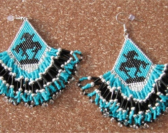 Native American Style End of Trail Beaded Earrings