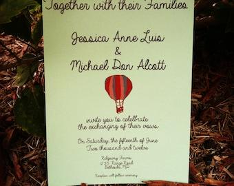 Hot air balloon Wedding invitation, hot air ballon