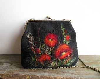 Felted bag Hand felted bag poppy black purse  pouch  metal frame purse, wool felted, OOAK bag, designer bag, one of the kind bag