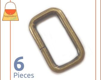 "3/4 Inch Rectangular Wire Loops / Rings, Antique Brass Finish, 6 Pieces, .75 Inch, .75"", 3/4"" Rectangle Ring, Purse Hardware, RNG-AA164"