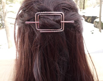 rectangle hair barrette geometric hair clip copper hair slide barettes with stick womens gift for her long hair accessory shawl pin jewelry