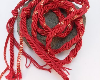 Wedding Handfasting Cord -  Red and Gold Twisted SIMPLE No BEADS
