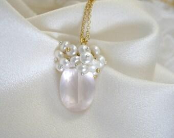 Pendant pearls Rose quartz with chain rose quartz necklace