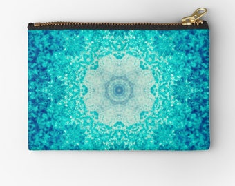 Blue Waves Carry-all Pouch- blue- abstract design- mandala- pencil case- make-up bag - change purse- phone holders- craft organizer